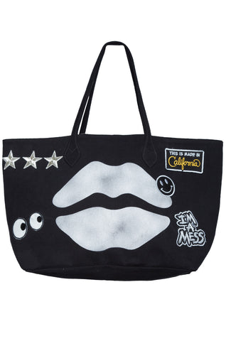 Jackie Airbrush Mouth w/Patch Combo Tote Bag - Lauren Moshi