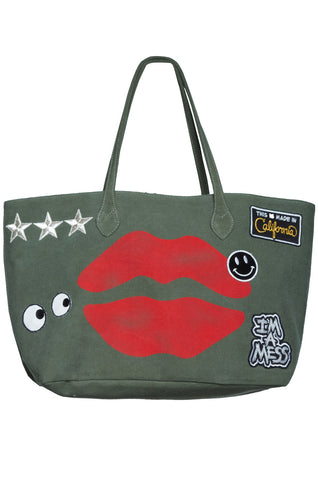 Jackie Airbrush Mouth w/Patch Combo Tote Bag in Military - Lauren Moshi