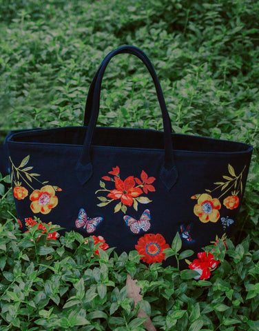 Lauren Moshi Jackie Garden Party Luxury Tote in Black