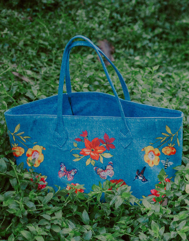 Lauren Moshi Jackie Jackie Garden Party Luxury Tote in Denim