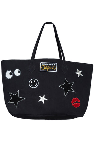 Lauren Moshi Women's Jackie All Over Emoji Patches Luxury Tote Bag - Black