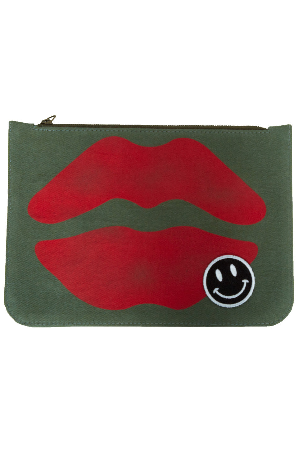 717a49f8c3f Lauren Moshi Lusha Red Airbrush Mouth w/Patch Luxury Clutch in Military