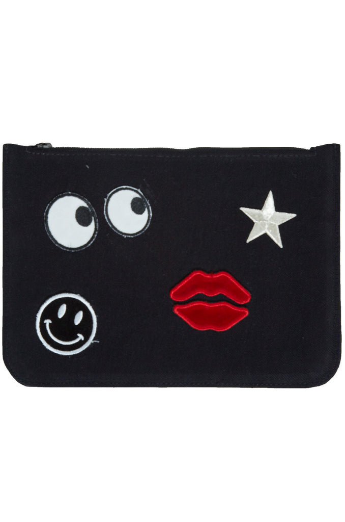 Lusha All Over Emoji Patches Luxury Clutch