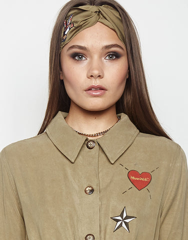 Lauren Moshi Women's Vienna Hummingbird Embroidery Headband in Army