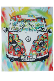 Brinkley Tie Dye Peace Bus Square Blanket Towel For Two