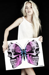 Canvas Faded Skull Butterfly Art