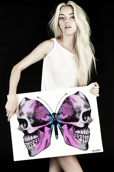 Canvas Faded Skull Butterfly Art - Lauren Moshi