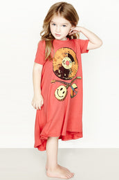 Beauty Color Record Short Sleeve Swing Dress