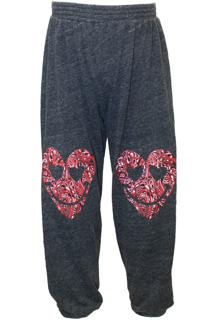 Felix Red Bandana Heart Leg Jersey Sweats W/ Elastic