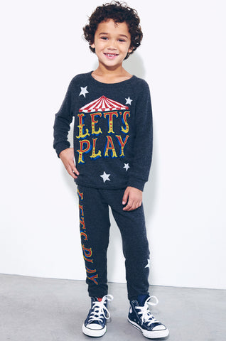 Lauren Moshi Kids Women's Mouse Let's Play Leg w/Stars Sweatpants - Black
