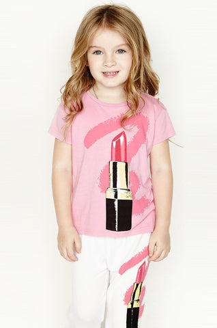 Snow Pink Floyd S/S Fringe Tee for Girls