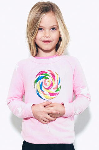Lauren Moshi Kids Women's Rocky Rainbow Pop w/Star Sleeve Pullover - 2