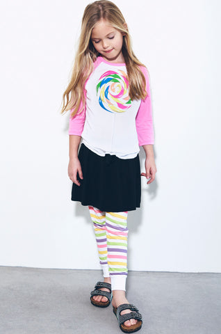 Lauren Moshi Kids Women's Bunny Rainbow Pop 3/4 Slv Raglan -