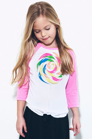 Lauren Moshi Kids Women's Bunny Rainbow Pop 3/4 Slv Raglan - White Barbie Pink