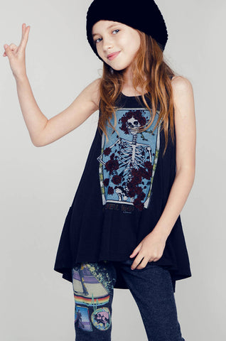 Elsa Grateful Dead Rose Skull Tank Dress W/ Pockets - Lauren Moshi - 1