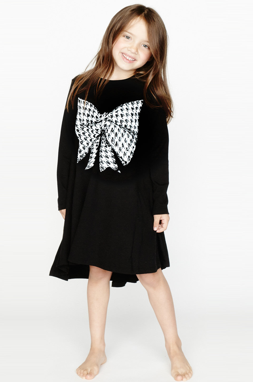 Betty Herringbone Bow L/S Swing Dress - Lauren Moshi - 1