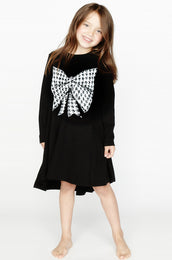 Betty Herringbone Bow L/S Swing Dress