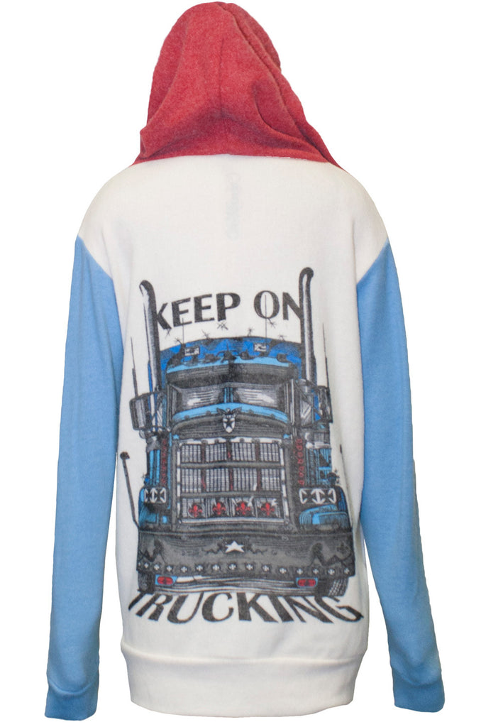 Stimpy Keep On Trucking Contrast Zip Up Hoodie