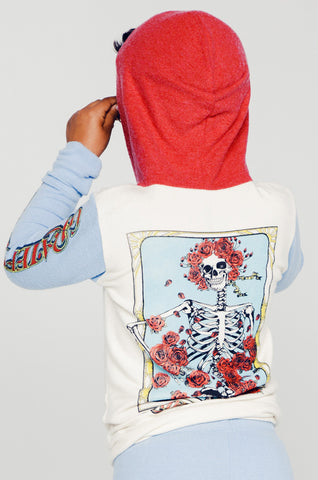 Stimpy Grateful Dead Rose Skull Contrast Zip Up Hoodie - Lauren Moshi - 1