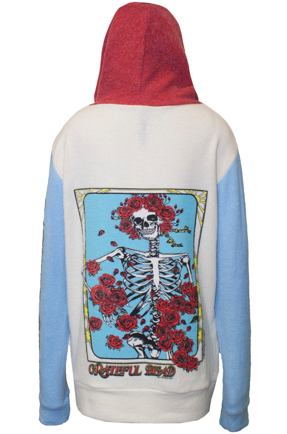 Stimpy Grateful Dead Rose Skull Contrast Zip Up Hoodie - Lauren Moshi - 5