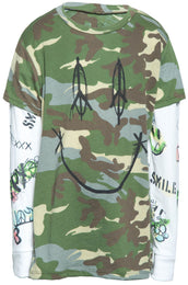 Homer Smiley Peace w/Sleeve Double Layer Tee