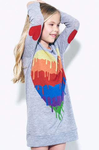 Dinky Dripping Heart L/S Pullover Sweatshirt Dress - Lauren Moshi