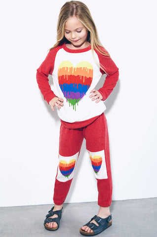 Lauren Moshi Kids Women's Heckle Dripping Heart Colorblock Pullover