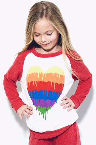 Lauren Moshi Kids Women's Heckle Dripping Heart Colorblock Pullover - Silk Cayenne