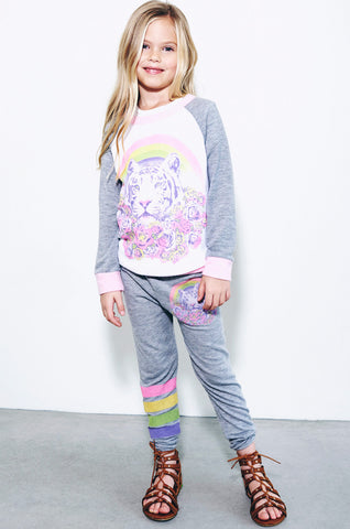 Lauren Moshi Kids Women's Dee Dee Pretty Tiger Colorblock Raglan Pullover - White Heather Grey Tickle Pink
