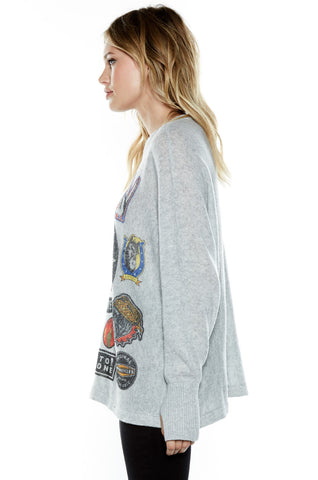 Lauren Moshi Women's Hollis Heart Breaker L/S Cashmere Pullover Sweater w/Thumbholes - Heather Grey