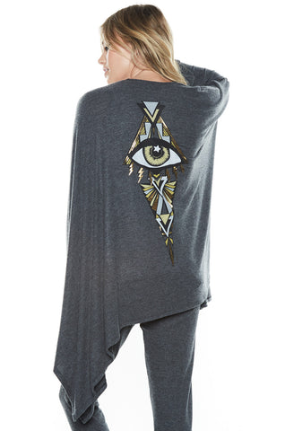 Jojo Foil Deco Eye Draped Cardigan - Lauren Moshi