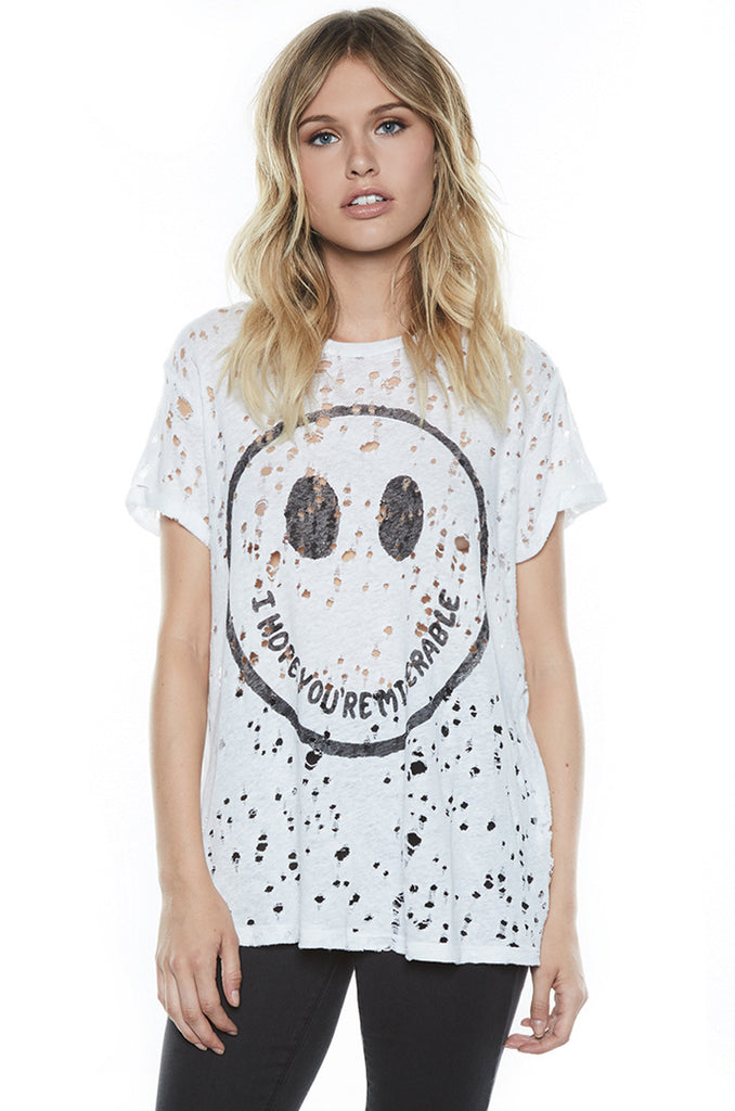 Bess Happy Miserable S/S Roll Up Slv. Vintage Tee - Lauren Moshi - 1