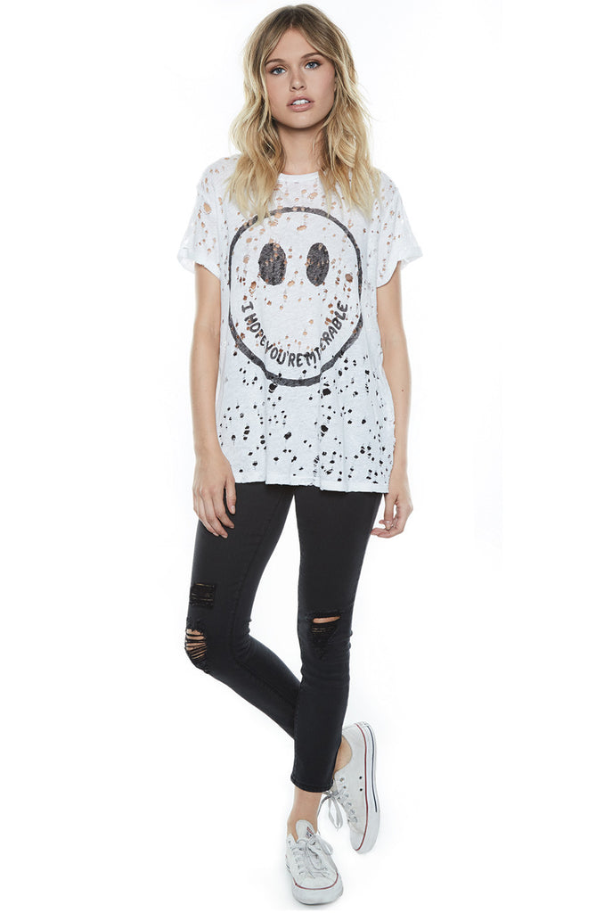 Bess Happy Miserable S/S Roll Up Slv. Vintage Tee - Lauren Moshi - 3
