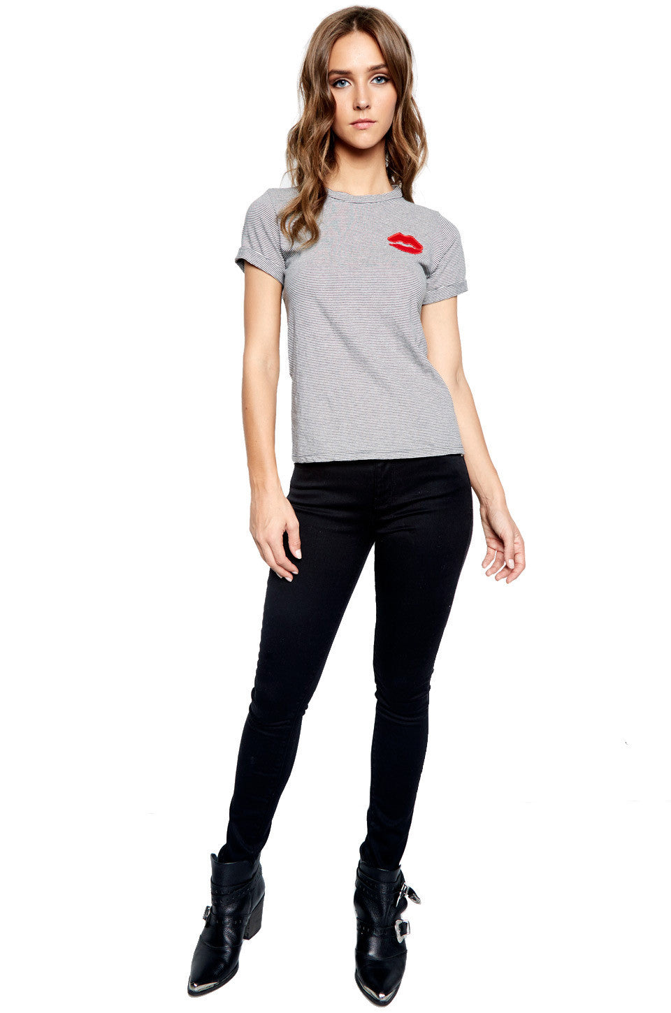 Limp Red Mouth Patch S/S Roll Up Tee - Lauren Moshi - 3