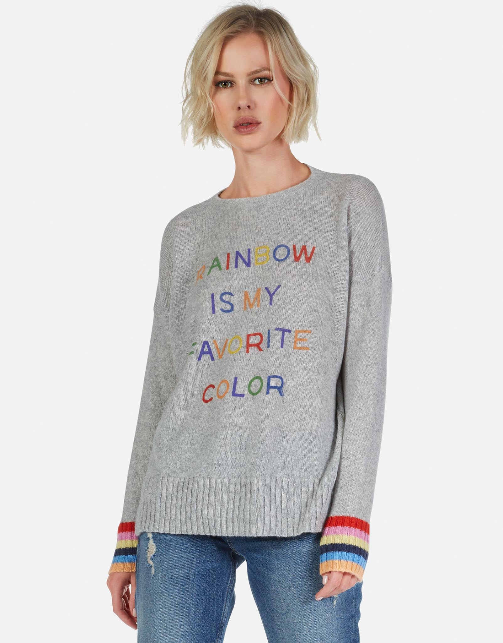 87fec21f610 Rainbow is My Favorite Color Cashmere Sweater