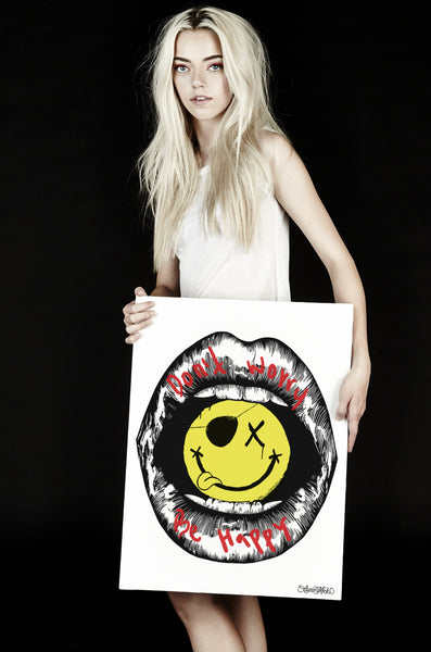 Canvas Be Happy Lips Art - Lauren Moshi