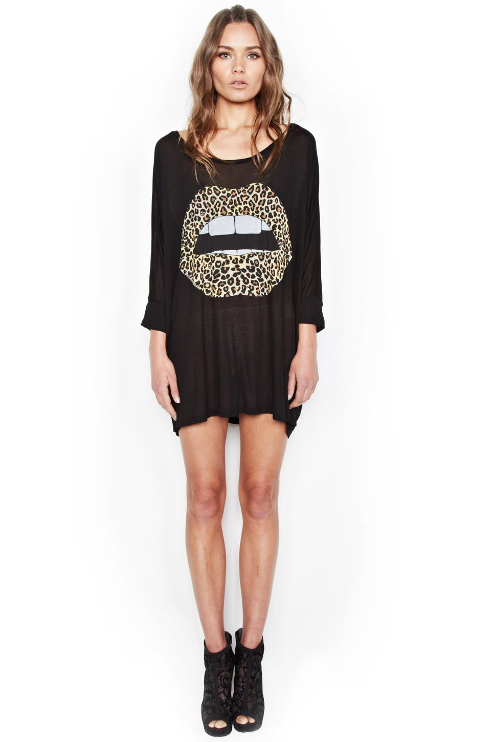 Milly Color Leopard Lip 3/4 Slv Oversized Dress - Lauren Moshi - 1