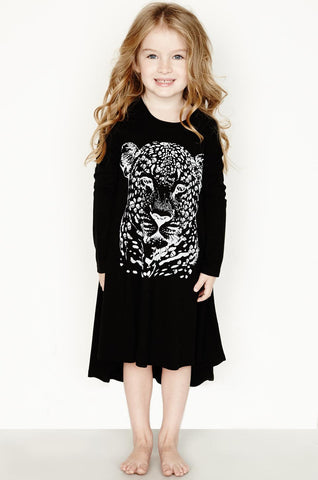 Lauren Moshi Kids Women's Betty Sml Leopard Head L/S Swing Dress - Black