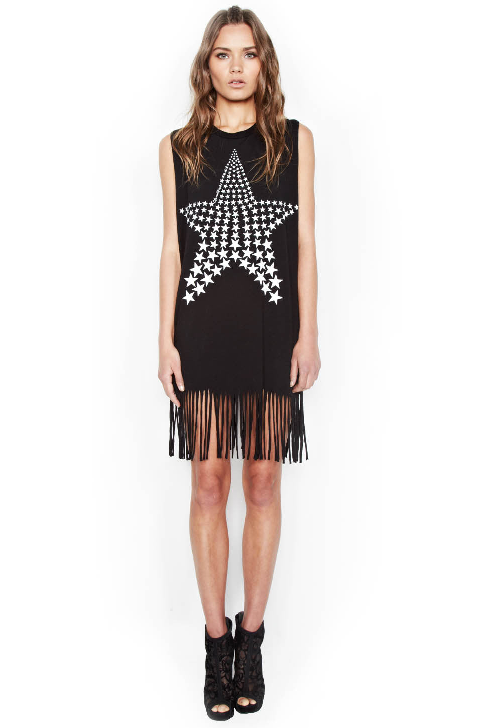 Gin Ombre Star Sleeveless Fringe Dress - Lauren Moshi - 1