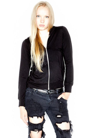Lauren Moshi Women's Candy Lrg Web Embroidery Fitted Zip Up Hoodie