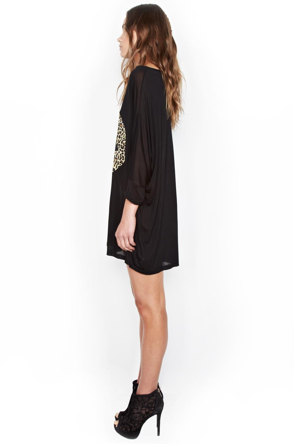 Lauren Moshi Women's Milly Color Leopard Lip 3/4 Slv Oversized Dress