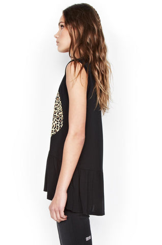 Electra Color Leopard Lip Sleeveless Ruffle Hem Tank - Lauren Moshi - 2
