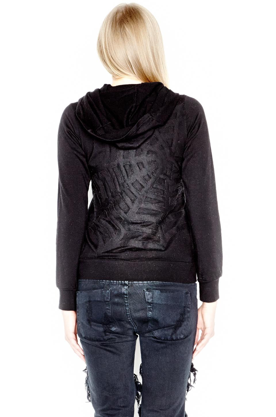 candy lrg web embroidery fitted zip up hoodie - s black