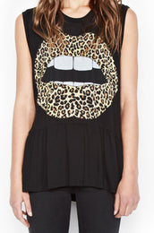 Electra Color Leopard Lip Sleeveless Ruffle Hem Tank
