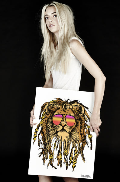 Canvas Color Rasta Lion Art - Lauren Moshi
