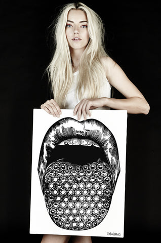 Canvas Diamond Lips Art - Lauren Moshi