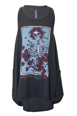 Elsa Grateful Dead Rose Skull Tank Dress W/ Pockets - Lauren Moshi - 2