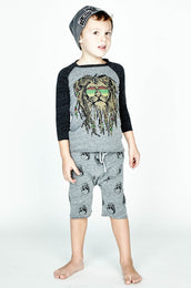 Bugs Rasta Lion Raw Edge Raglan