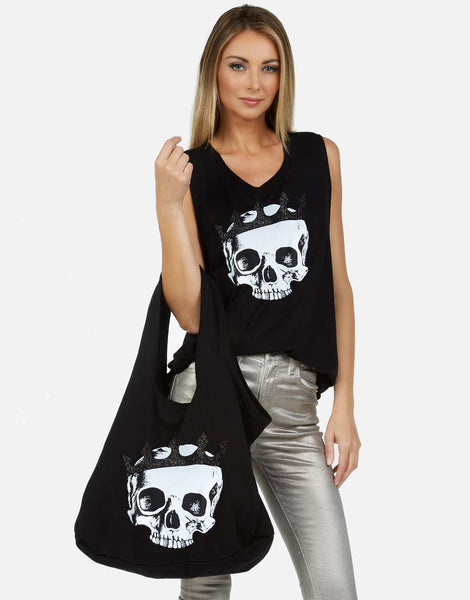 Drooling Skull Cotton Canvas Tote Bag