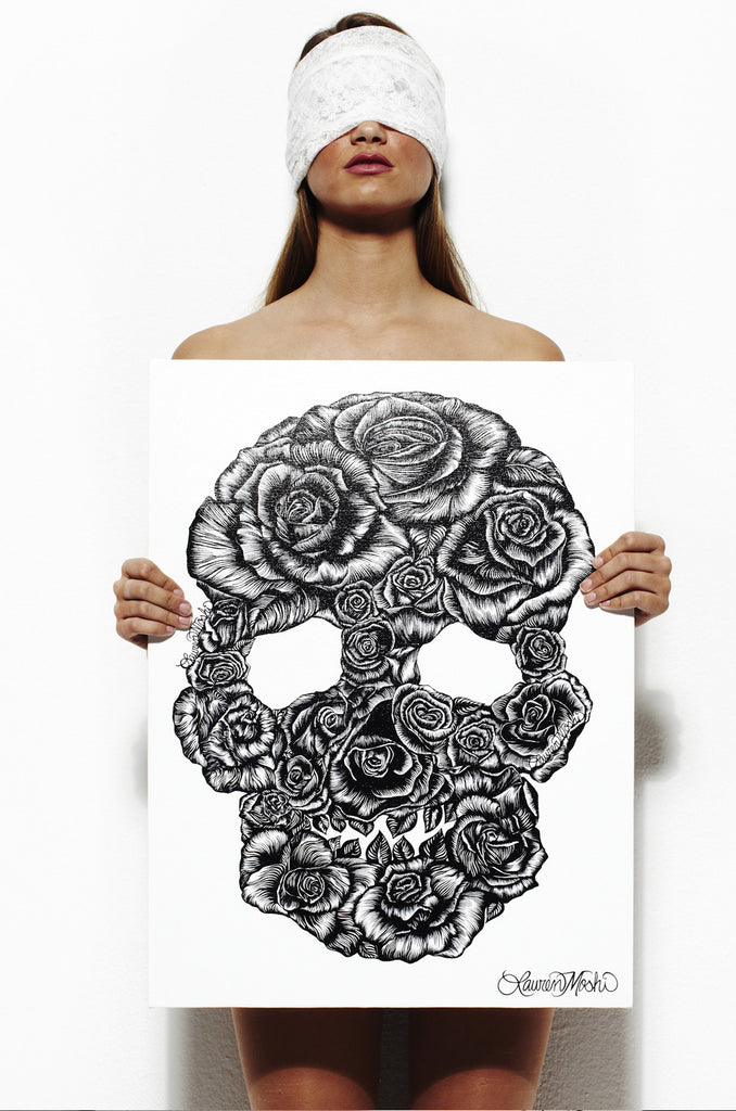 Canvas Skull Rose Art